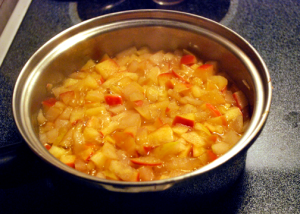 simmering diced apples