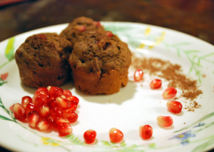 plated chocolate pomegranate muffins
