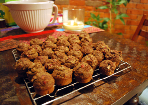 baked mini-muffins on cooling rack