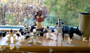 wedding favor doves scattered amidst stormtroopers