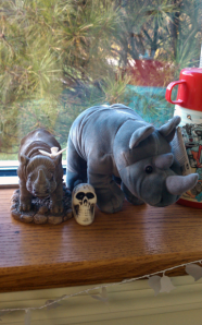 plastic skull between two rhinos