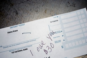 picture of the deposit slip IOU for $30